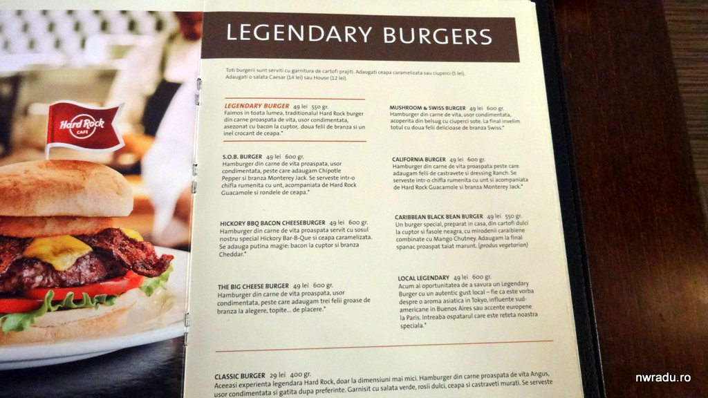 Menu With Prices For Hard Rock Cafe Las Vegas